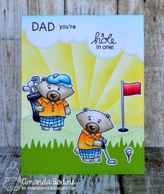 Golf Card by Amanda Bodine | Winston's Tee Time | Golfing Bear Stamp set by Newton's Nook Designs