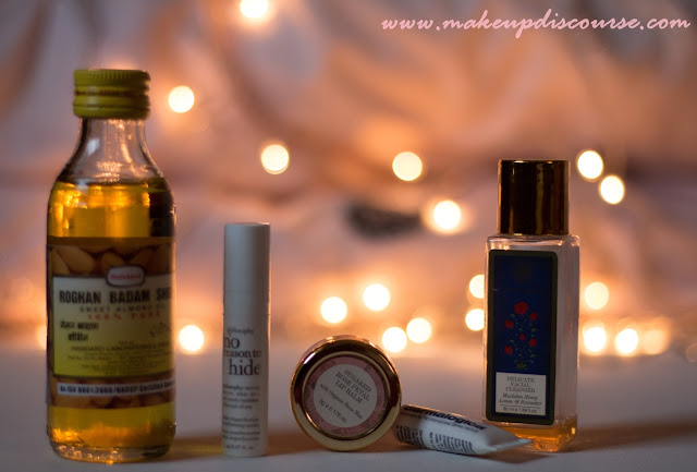Philosophy No reason to hide, Roghan Badam Shirin Sweet Almond oil, Forest Essentials Delicate Facial Cleanser, Forest Essential Rose Petal Sugar Lipbalm