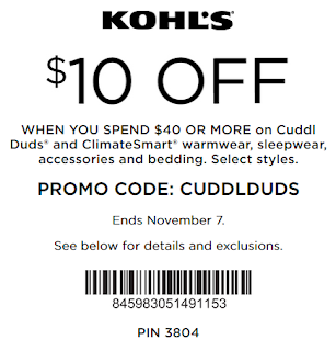 Kohls coupon $10 Off $40+ Cuddl Duds and ClimateSmart 2017