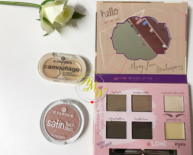 a photo of Essence Shape and Shadows Eye Contouring Palette, Essence Camouflage Cream Concealer in 10 Natural Beige and Essence Satin Touch Blush in 20 Satin Love