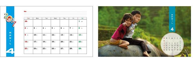 mẫu lịch để bàn tuổi thơ