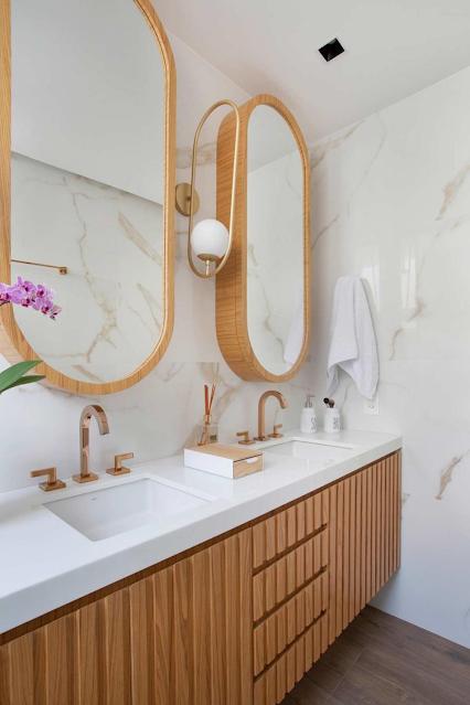 banheiro suite duas cubas decorado sob medida elegante