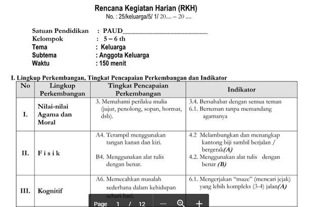 RKH PAUD 5-6 Tahun Tema Keluarga Kurikulum 2013
