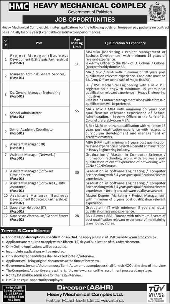 Heavy Mechanical Complex (HMC) Jobs 2020 for Manager Admin, Project Manager, Software Manager, Business Manager & more