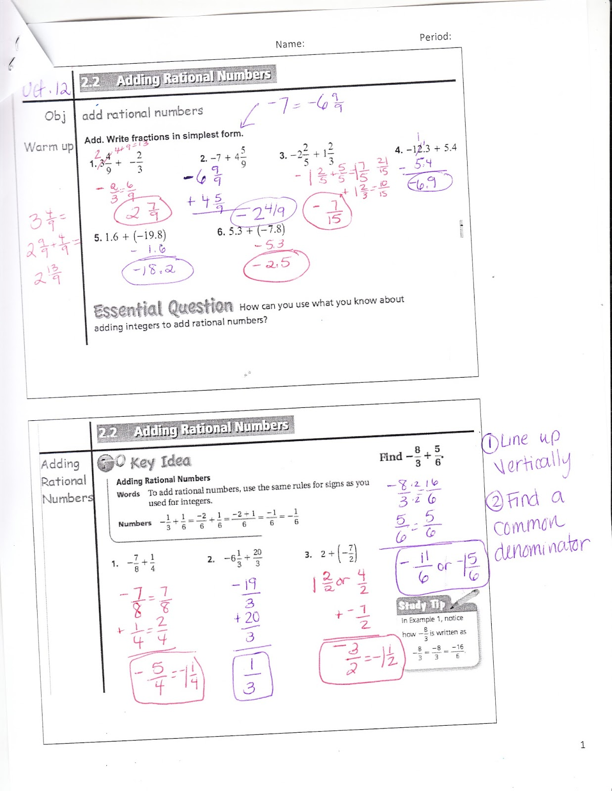 Ms Jean S Classroom Blog Math 7 2 2 Adding Rational Numbers