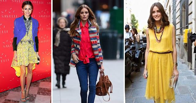 Оливия Палермо в платьях с разным цветовым контрастом