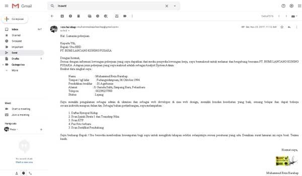 lamaran email laptop komputer