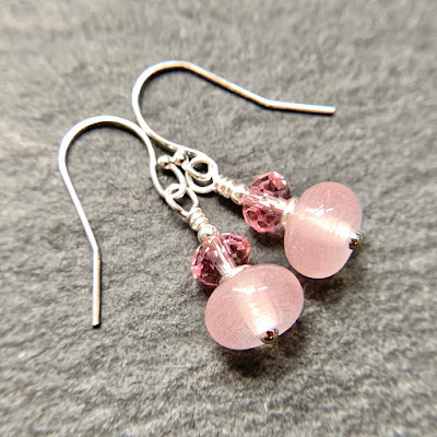 Handmade lampwork glass bead earrings by Laura Sparling made with CiM Pink Lemonade