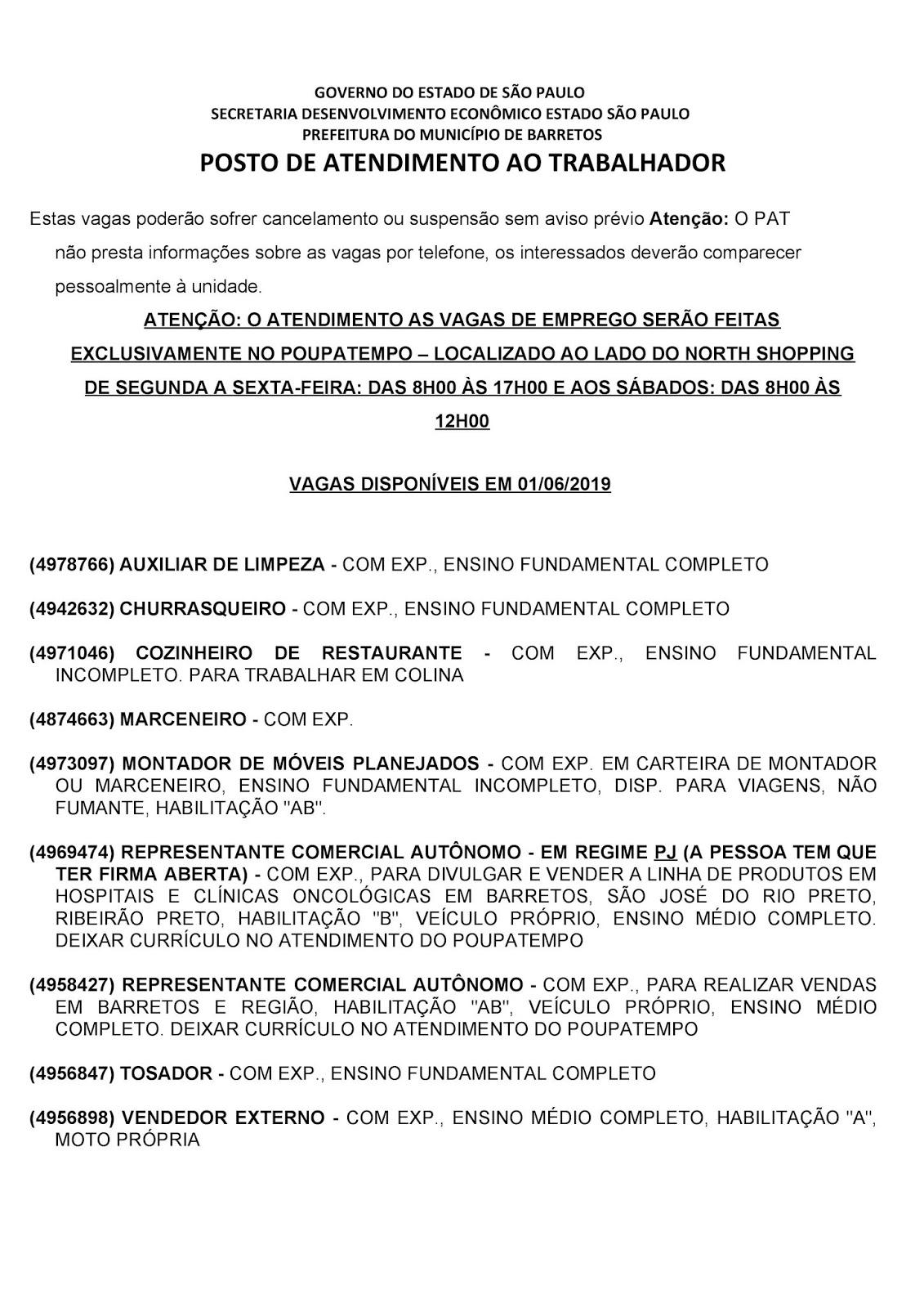 VAGAS DE EMPREGO DO PAT BARRETOS-SP PARA 01/06/2019 SÁBADO - PAG. 1