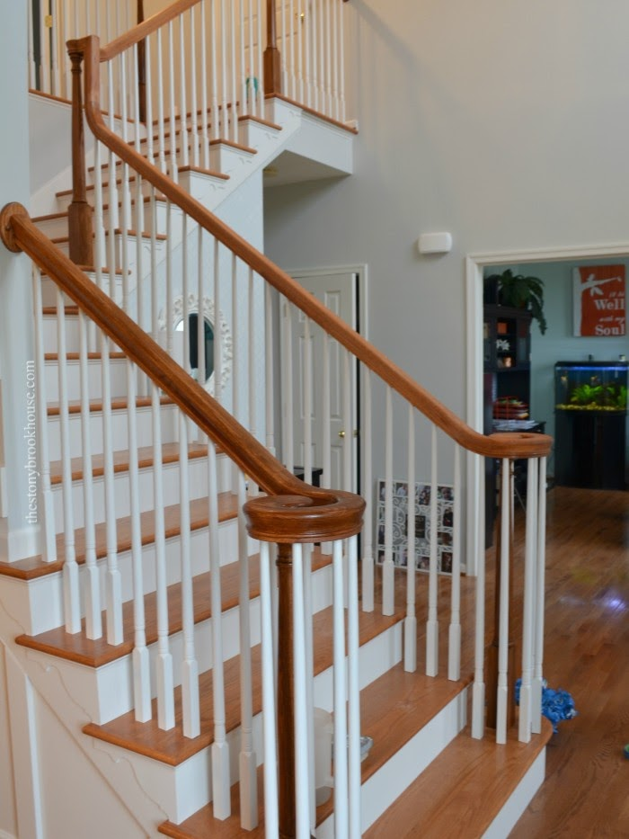 Left handrail stained