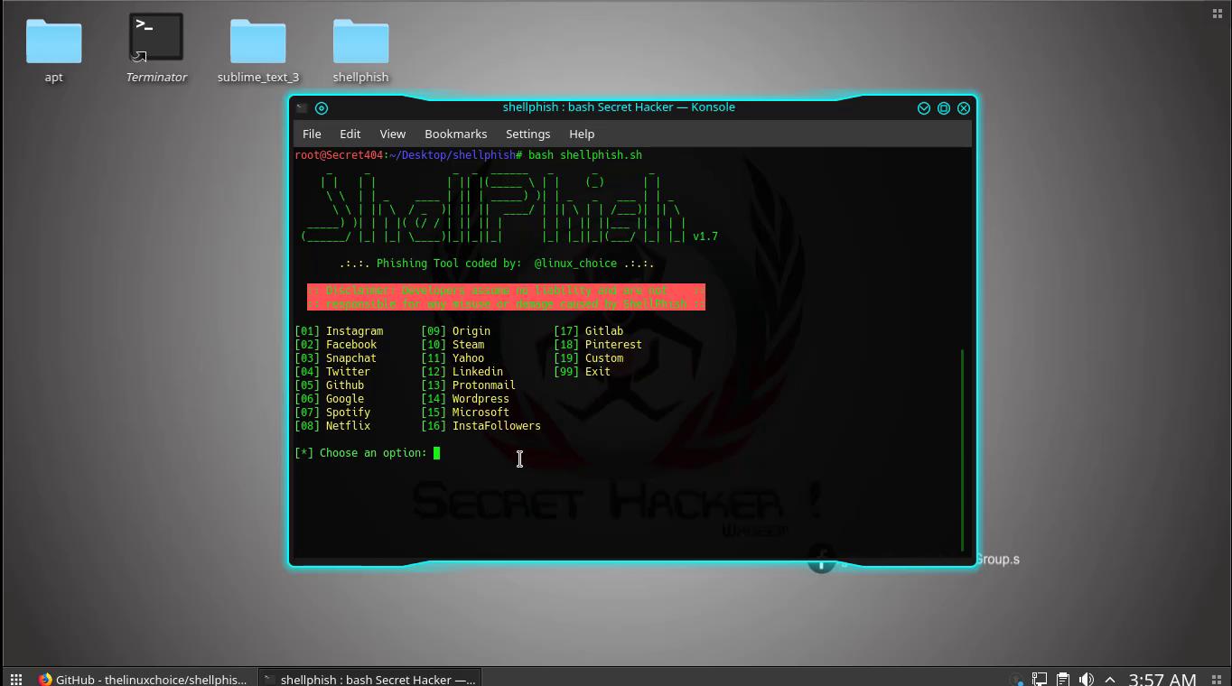 ShellPhish - Phishing Tool for 18 social media Website using