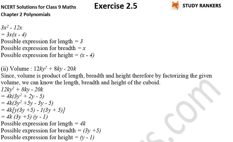 NCERT Solutions for Class 9 Maths Chapter 2 Polynomials Exercise 2.5 Part 9