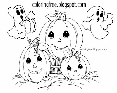 Printable easy clip art friendly ghost cute pumpkin drawing for Halloween coloring kids activities