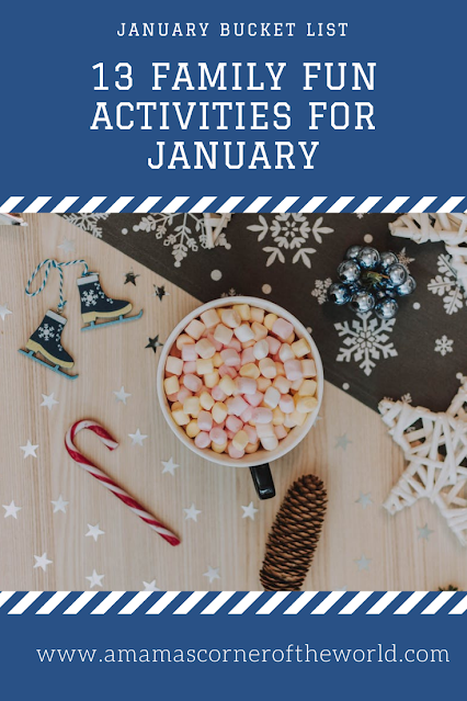Pinnable list of family fun activities with a january or winter theme