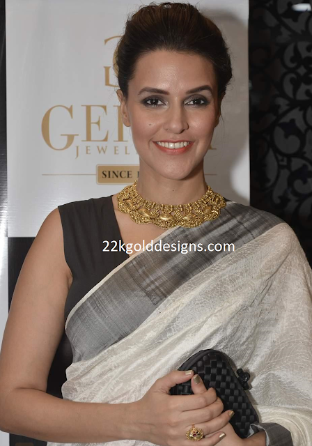 Neha Dhupia in Gehna Designer Gold Necklace