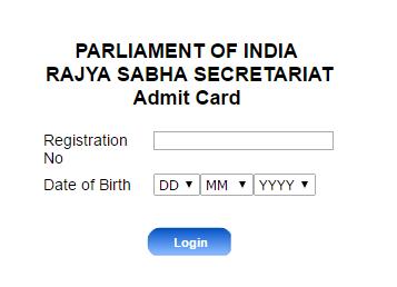Rajya Sabha Secretariat Admit card