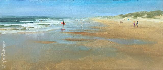 Strand bei Ebbe gemalt Pleinairmalerei