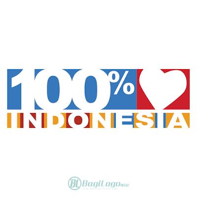 100% Cinta Indonesia Logo Vector