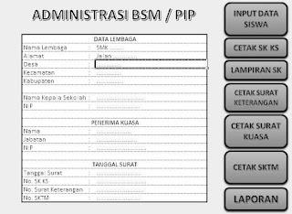 aplikasi administrasi PIP SMK format excel