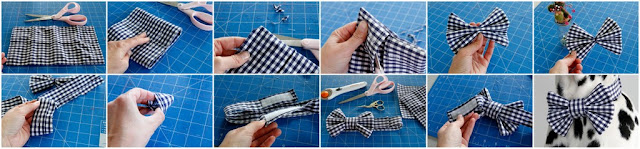 Step-by-step instructions for making a dog bow tie from an old shirt