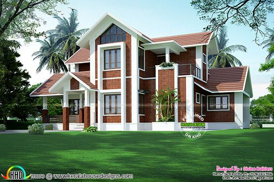Sloping roof house by Divine builders