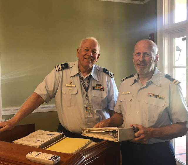 AUX John Fisher (left) and AUX Glenn Delmonico (right) are all smiles as they prepare to teach the next chapter on knots.