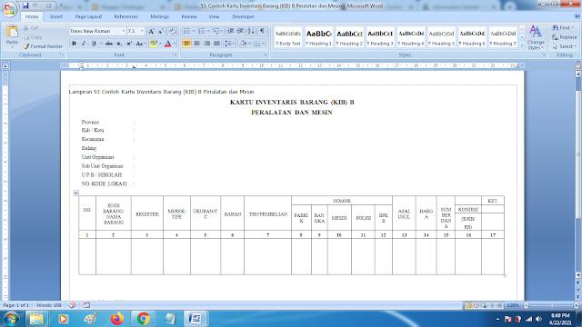 Contoh Kartu Inventaris Barang (KIB) B Peralatan dan Mesin Sekolah