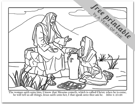 coloring page 1 woman at the well scripture craft