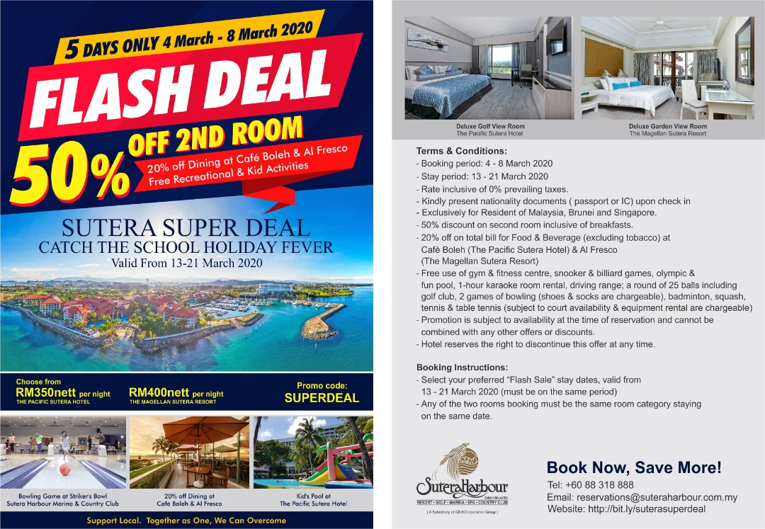 SUTERA HARBOUR RESORT 50% OFF FLASH DEAL! GRAB YOU ROOM NOW! 5 Days only from 4 – 8 March 2020
