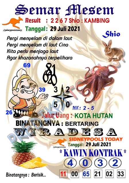 Syair Semar Mesem SDY Kamis 29 Juli 2021