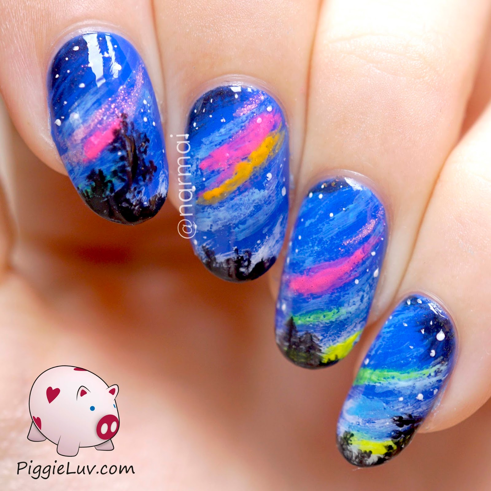 PiggieLuv: Colorful Glow In The Dark Northern Lights Nail Art