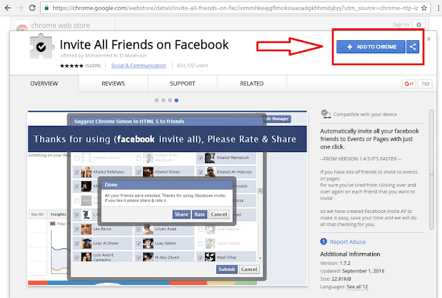 How to invite all friends to like Facebook page with single click