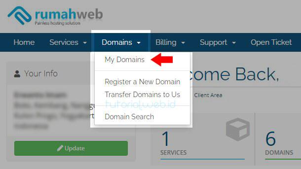 Cara Memverifikasi Kepemilikan Domain Rumahweb 1 Pilih My Domains