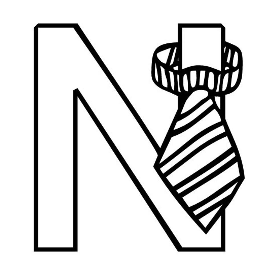 Page de coloriage grand format  imprimer la lettre N avec une petite cravate
