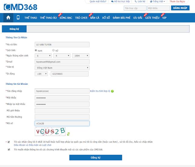 Form đăng ký cmd368