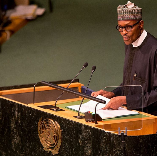 Nigerian president, Muhammadu Buhari addresses the United ...
