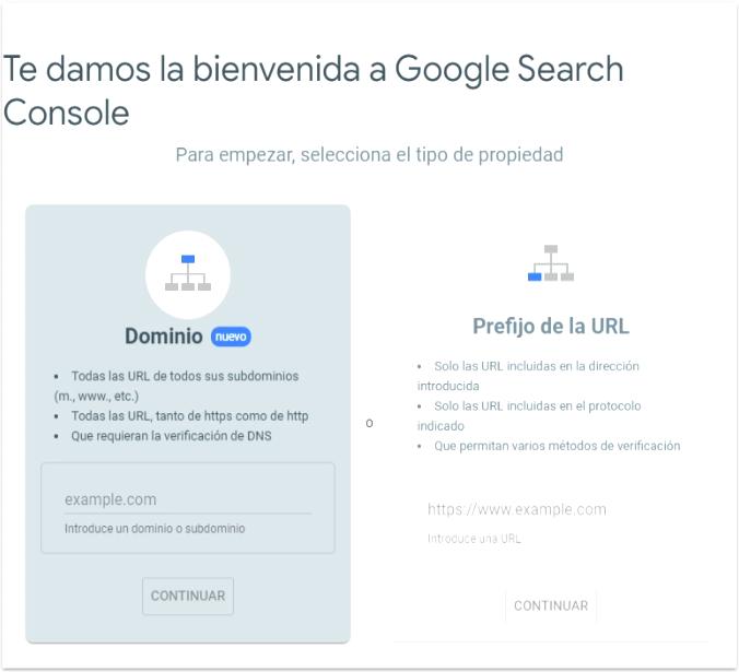 Métodos de verificación de Google Search Console
