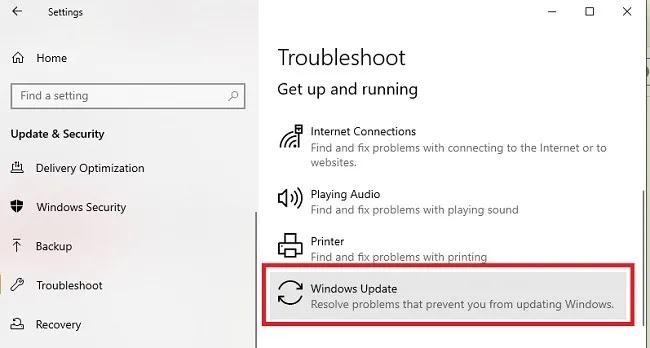 استكشاف أخطاء تثبيت Windows 10 Update وإصلاحها ، Windows Update