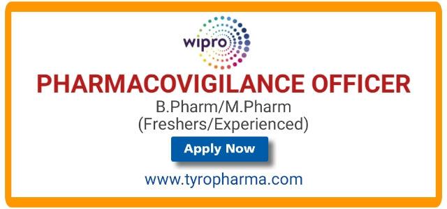 Opportunity for B.Pharm, M.Pharm to work as Pharmacovigilance Officer in Wipro Infotech