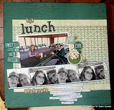 Quick Quotes Earth Wind Fire Collection and Canon iP8720 Printer Tutorial Scrapbook Page designed by Connie Mercer