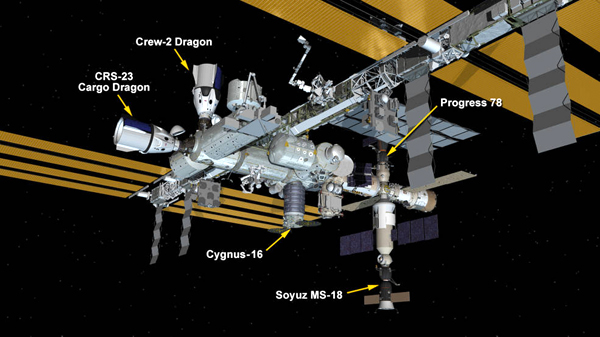 The current locations of all visiting vehicles at the ISS...as of September 28, 2021.