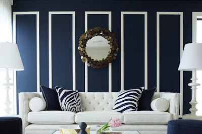 relaxing paint colors for living room deep blue and white
