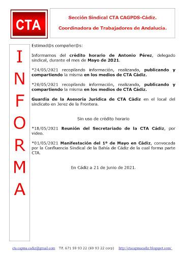 C.T.A. INFORMA CRÉDITO HORARIO ANTONIO PÉREZ, MAYO 2021