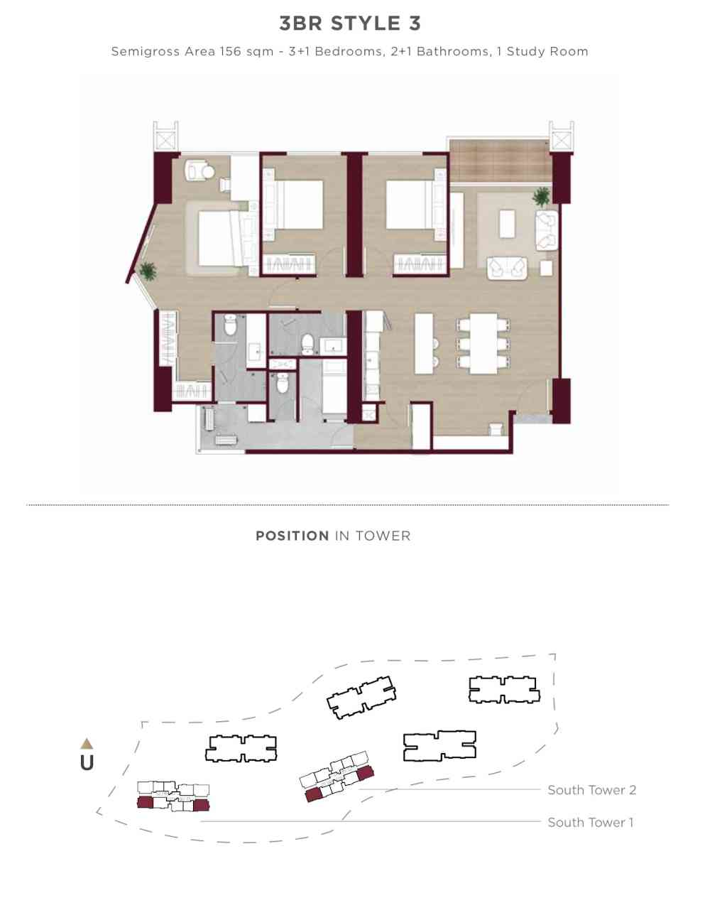 Denah Apartemen Elevee Tipe 3BR