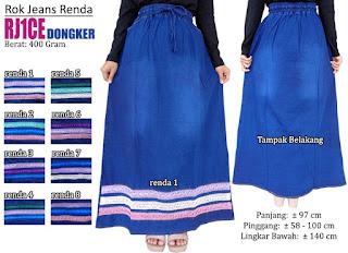 Rok jeans panjang berkualitas variasi renda