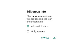 whatsapp group setting  who can change whatsapp group name and picture