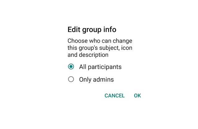 Choose who can change whatsapp group name and image: Whatsapp group setting