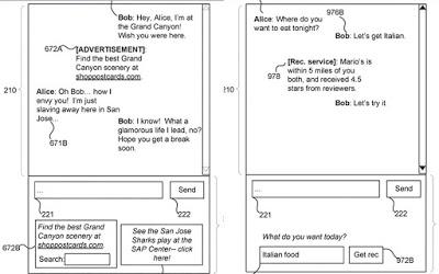 شركة فيسبوك تسجل براءة إختراع تتعلق بوضع إعلانات وسط محادثات المستخدمين إعتمادا على الكلمات الموظفة وذلك بإستخدام تقنية الدكاء الإصطناعي.