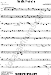 Partitura de Fiesta Pagana para Fagot y Chelo Mago de Oz Sheet Music for cello and bassoon Fiesta Pagana