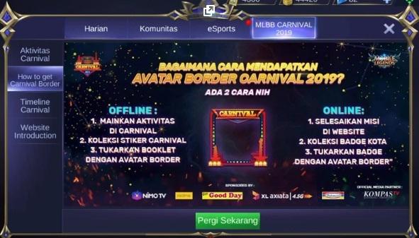 Cara Mendapatkan Border Carnival Event MLBB 2020 - RidoPedia